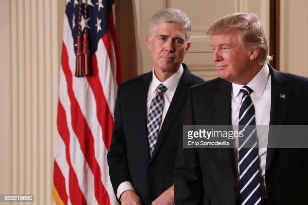 S President Donald Trump nominates Judge Neil Gorsuch to the Supreme Court during a ceremony in the East Room of the White House January 31 2017 in...