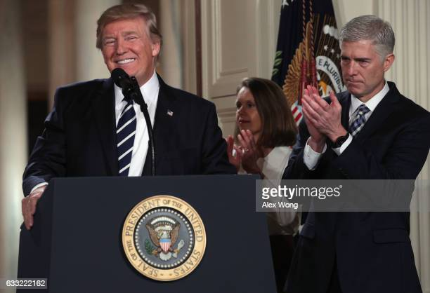 President Donald Trump nominates Judge Neil Gorsuch to the Supreme Court during a ceremony in the East Room of the White House January 31, 2017 in...