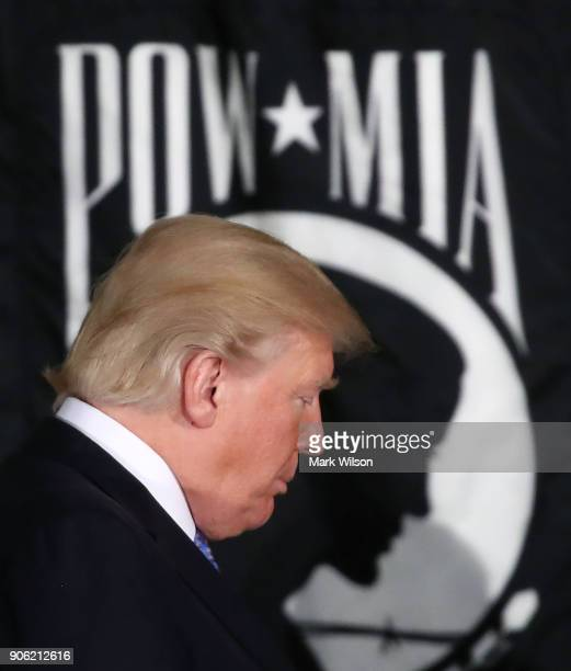 S President Donald Trump participates in a ceremony where former Senate Majority Leader Bob Dole recieved the Congressional Gold Medal at the US...