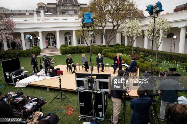 President Donald Trump participates in a Fox News Virtual Town Hall with Anchor Bill Hemmer, in the Rose Garden of the White House on March 24, 2020...