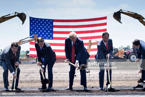 US President Donald Trump participates in a groundbreaking for a Foxconn facility at the Wisconsin Valley Science and Technology Park June 28 2018 in...