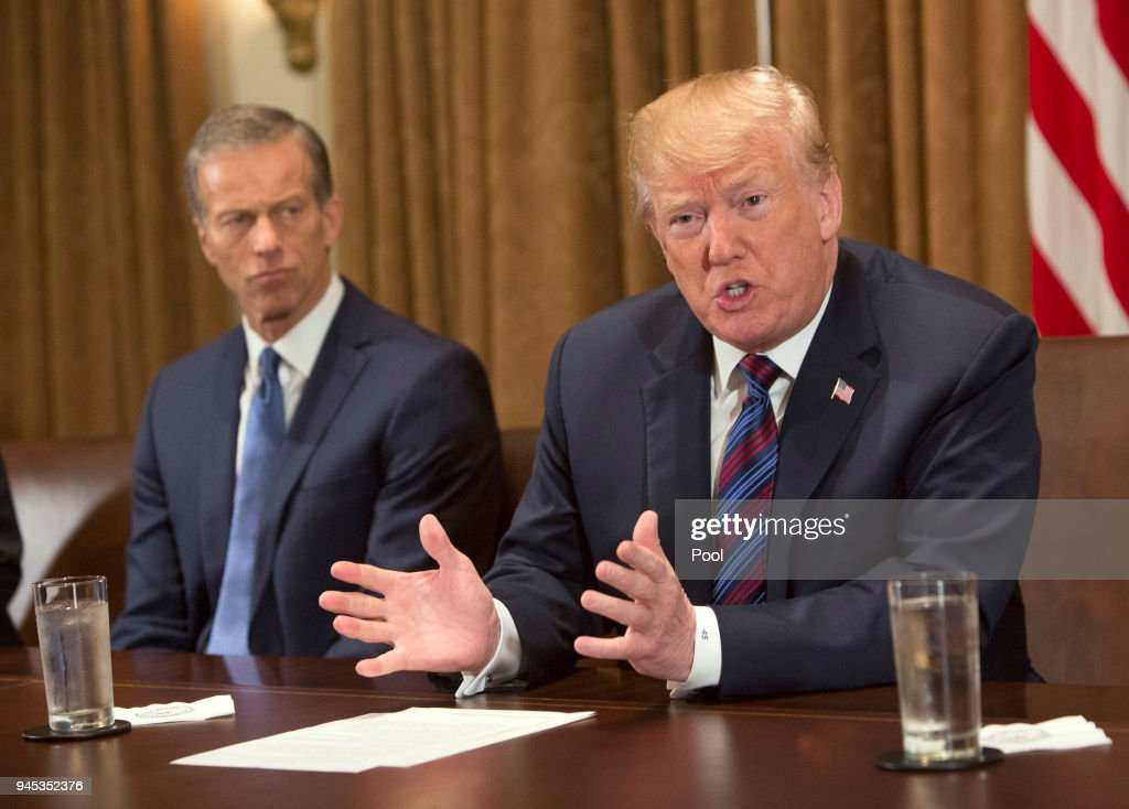 U.S. President Donald Trump participates in a meeting on trade with governors and members of Congress at the White House on April 12, 2018 in Washington, DC. Seated left is Sen. John Thune (R-SD).