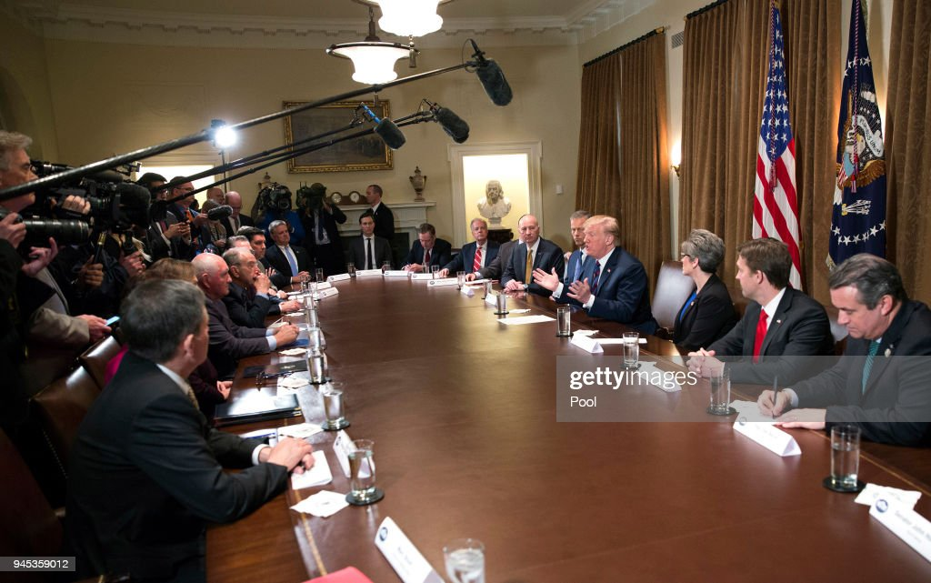U.S. President Donald Trump participates in a meeting on trade with governors and members of Congress at the White House on April 12, 2018 in Washington, DC.