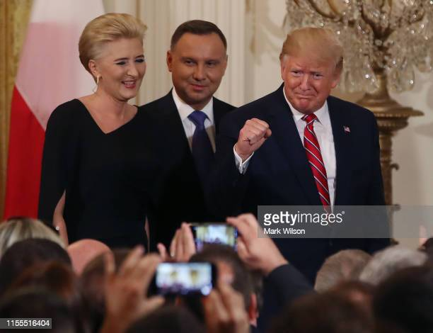 S President Donald Trump participates in a PolishAmerican reception with the President of Poland Andrzej Duda and his wife Agata KornhauserDuda in...