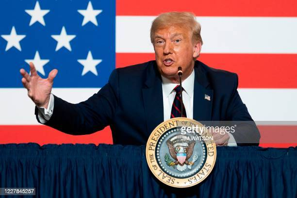 President Donald Trump participates in a roundtable discussion on donating plasma at the American Red Cross National Headquarters on July 30, 2020 in...