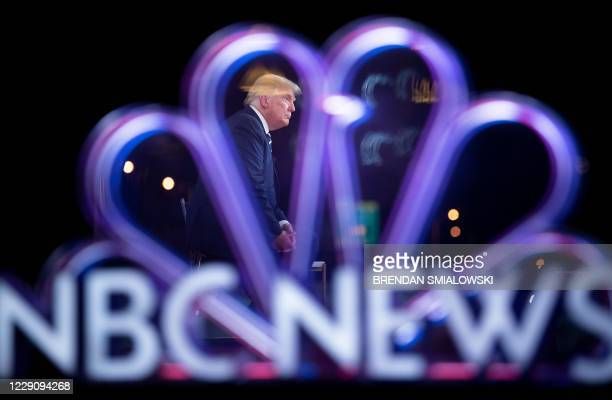 US President Donald Trump participates in an NBC News town hall event at the Perez Art Museum in Miami on October 15 2020
