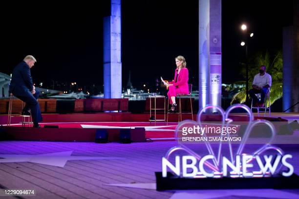 US President Donald Trump participates in an NBC News town hall event moderated by Savannah Guthrie at the Perez Art Museum in Miami on October 15...