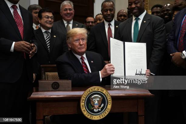 S President Donald Trump participates in signing an executive order to establish the White House Opportunity and Revitalization Council as Secretary...