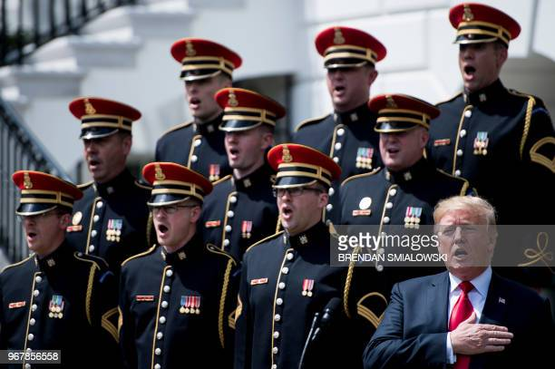 President Donald Trump participates in the Celebration of America at the White House in Washington DC on June 5 2018 Trump's The Celebration of...