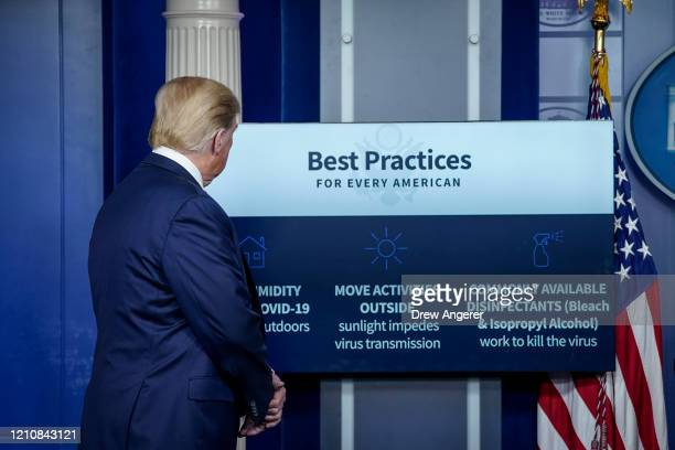 President Donald Trump participates in the daily briefing of the coronavirus task force at the White House on April 23, 2020 in Washington, DC. The...