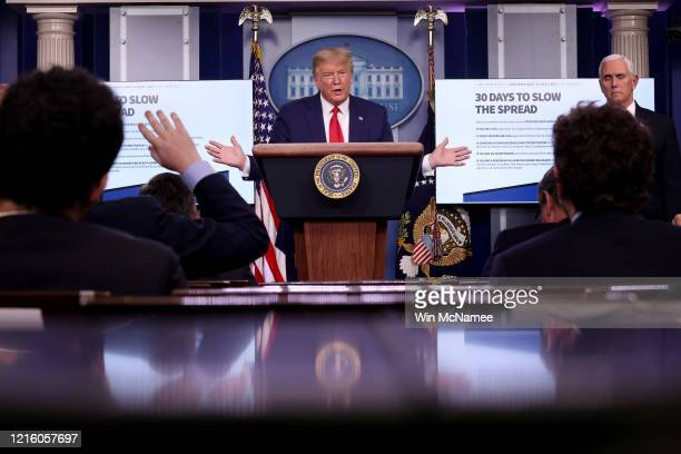 S President Donald Trump participates in the daily coronavirus task force briefing in the Brady Briefing room at the White House on March 31 2020 in...