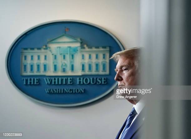 President Donald Trump participates in the daily coronavirus task force briefing at the White House on April 21, 2020 in Washington, DC. Earlier in...