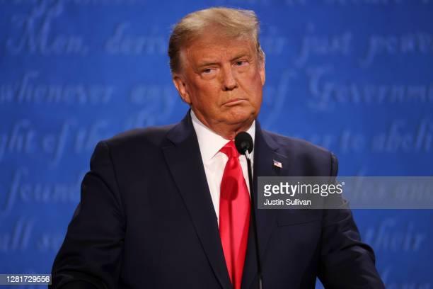 President Donald Trump participates in the final presidential debate against Democratic presidential nominee Joe Biden at Belmont University on...