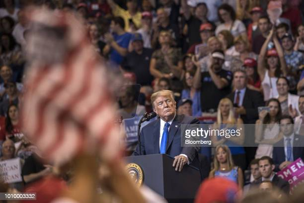 US President Donald Trump pauses as the crowd cheers during a rally in WilkesBarre Pennsylvania US on Thursday Aug 2 2018 Trump tweeted Thursday that...