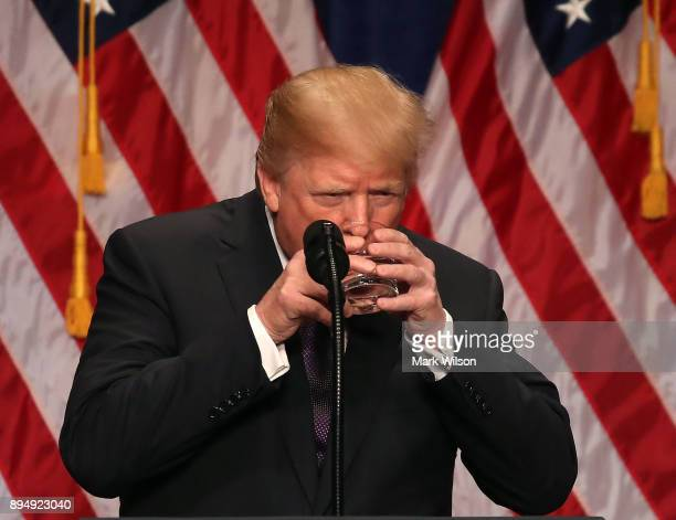 S President Donald Trump pauses during a speech at the Ronald Reagan Building December 18 2017 in Washington DC The president was expected to outline...