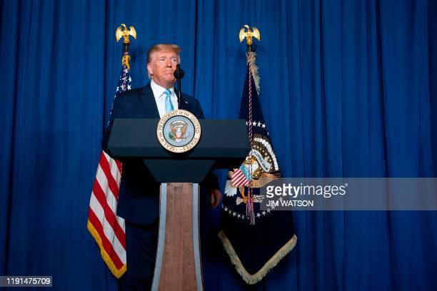 US President Donald Trump pauses while making a statement on Iran at the MaraLago estate in Palm Beach Florida on January 3 2020 President Donald...