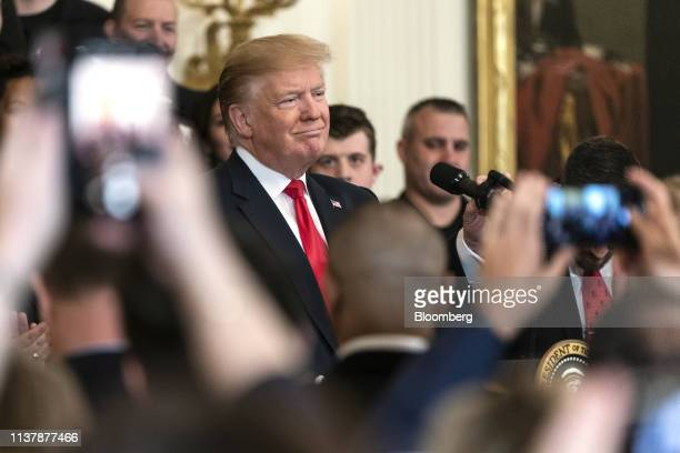 US President Donald Trump pauses while speaking during an event with wounded warriors at the White House in Washington DC US on Thursday April 18...