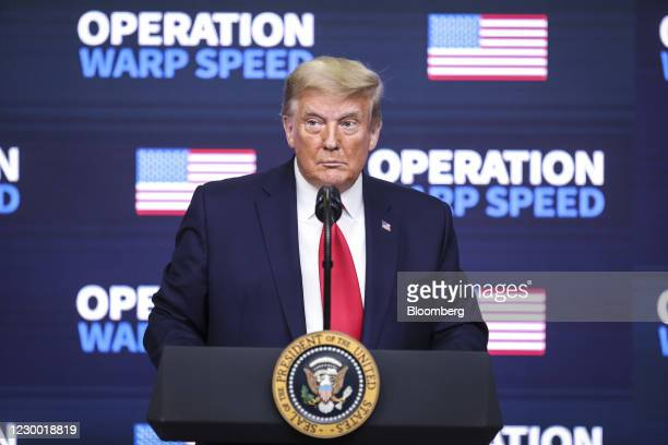 President Donald Trump pauses while speaking during an Operation Warp Speed vaccine summit at the White House in Washington, D.C., U.S., on Tuesday,...