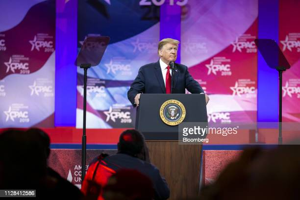 US President Donald Trump pauses while speaking during the Conservative Political Action Conference in National Harbor Maryland US on Saturday March...