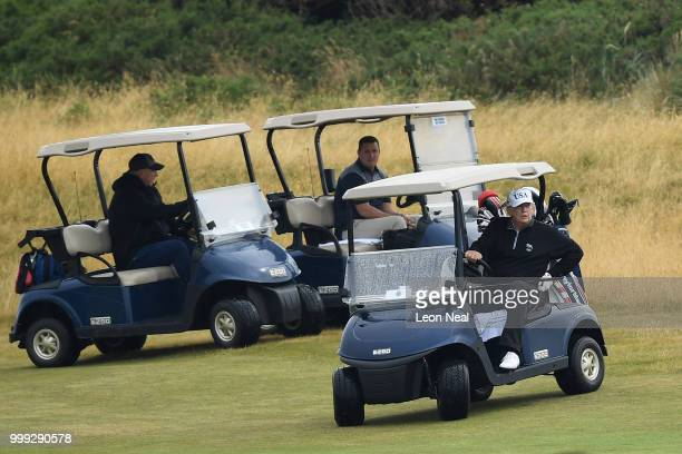 S President Donald Trump plays a round of golf at Trump Turnberry Luxury Collection Resort during the US President's first official visit to the...
