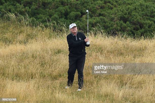 President Donald Trump plays a round of golf at Trump Turnberry Luxury Collection Resort during the U.S. President's first official visit to the...