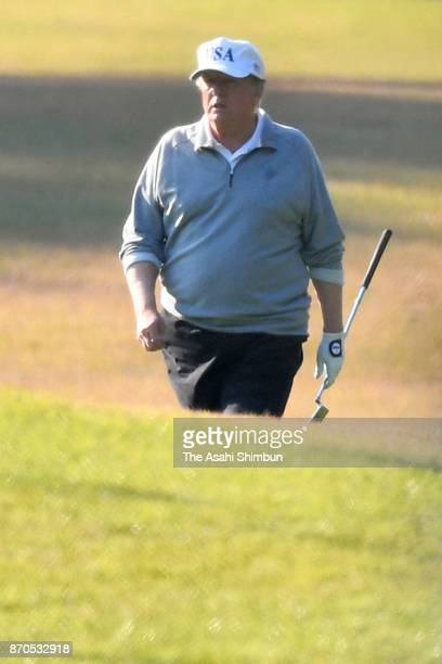 US President Donald Trump plays golf at Kasumigaseki Country Club on November 5 2017 in Kawagoe Saitama Japan Trump is on 11day tour to Asia