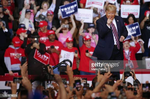 President Donald Trump points to the crowd at a campaign rally at Las Vegas Convention Center on February 21 2020 in Las Vegas Nevada The upcoming...