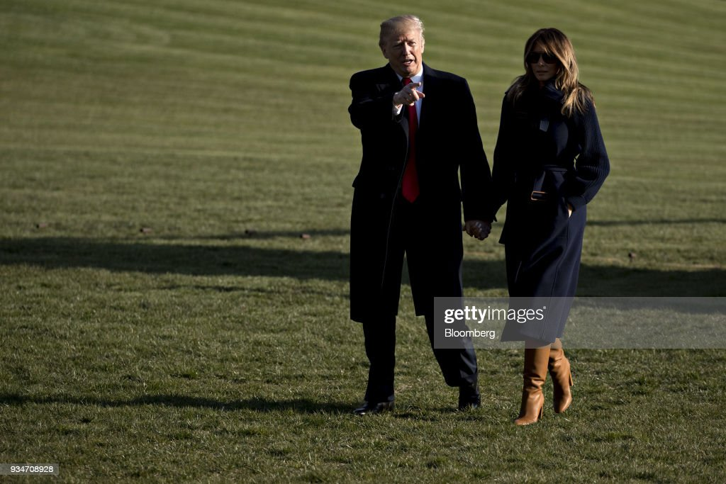 President Trump And Melania Trump Arrive To The White House After Travel To New Hampshire