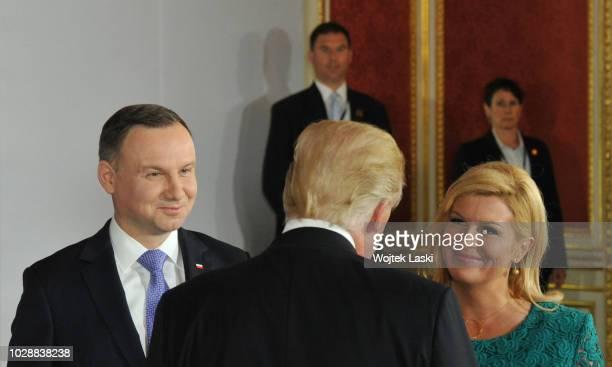 President Donald Trump Polish President Andrzej Duda Croatian President Kolinda GrabarKitarovic during Three Seas Initiative Summit at Warsaw Royal...