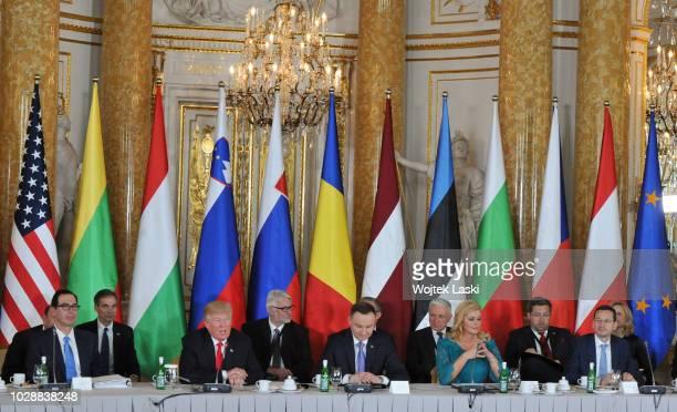 President Donald Trump, Polish President Andrzej Duda, Croatian President Kolinda Grabar-Kitarovic during Three Seas Initiative Summit at Warsaw...