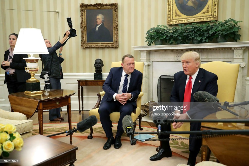 U.S. President Donald Trump (R) poses for photographs with Prime Minister Of Denmark Lars Lokke Rasmussen in the Oval Office at the White House March 30, 2017 in Washington, DC. The White House said Trump looks forward to talking with Rasmussen about 'deepening already robust economic ties, defeating ISIS, and strengthening our defense and security relationship, both bilaterally and through the North Atlantic Treaty Organization.'