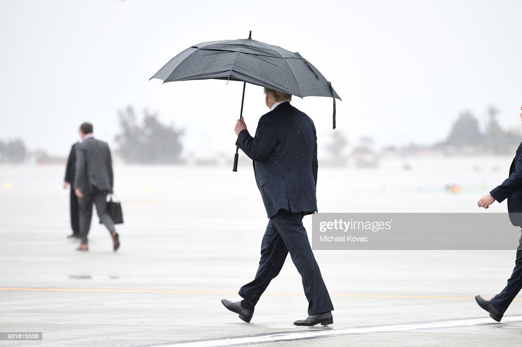 U.S. President Donald Trump prepares to board Marine One at LAX Airport on March 13, 2018 in Los Angeles, California.