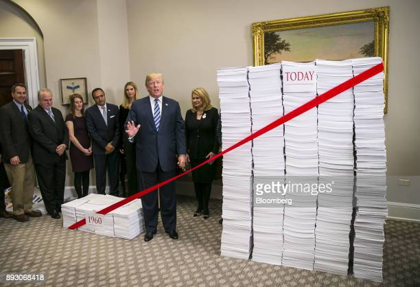 US President Donald Trump prepares to cut a red ribbon between two stacks of paper representing the regulatory code from 1960 compared to today...