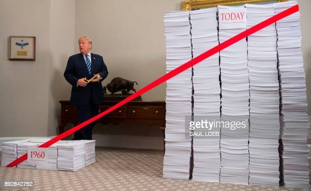 US President Donald Trump prepares to cut a red tape tied between two stacks of papers representing the government regulations of the 1960s and the...