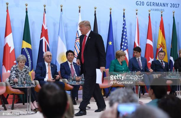 US President Donald Trump prepares to give a speech during the panel discussion 'Launch Event Women's Entrepreneur Finance Initiative' on the second...