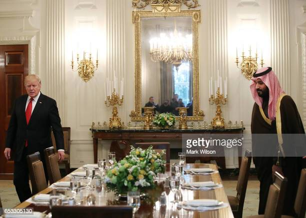 S President Donald Trump prepares to have lunch with Mohammed bin Salman Deputy Crown Prince and Minister of Defense of the Kingdom of Saudi Arabia...