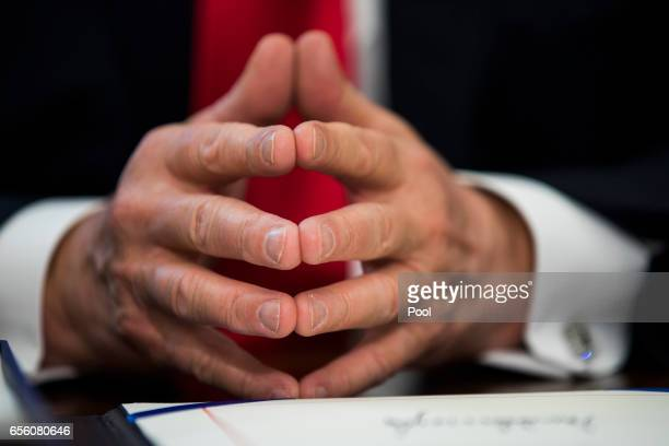 S President Donald Trump prepares to sign the NASA transition authorization act in the Oval Office of the White House March 21 2017 in Washington DC...
