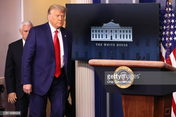 President Donald Trump prepares to speak to the press in the James Brady Press Briefing Room at the White House on November 24, 2020 in Washington,...
