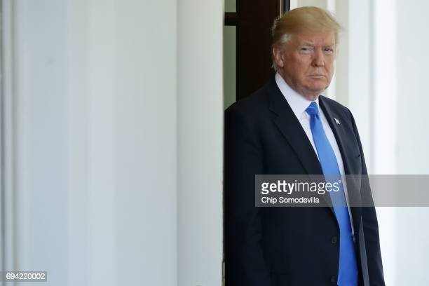 S President Donald Trump prepares to welcome President Klaus Iohannis of Romania to the White House for a working visit June 9 2017 in Washington DC...