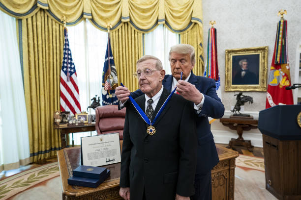 DC: President Trump Presents Medal Of Freedom To Lou Holtz