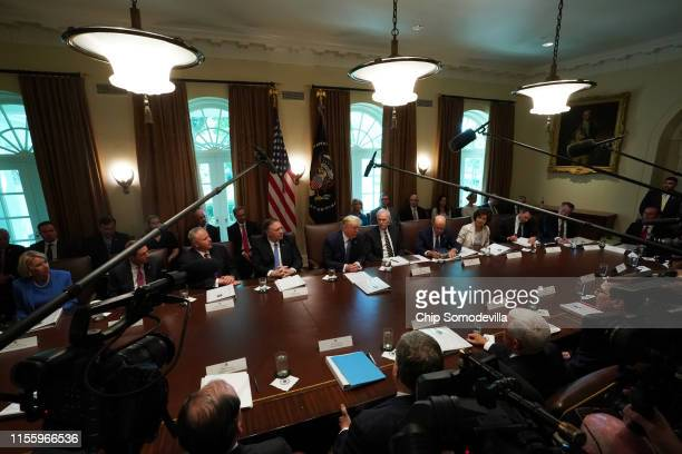 President Donald Trump presides over a cabinet meeting July 16 2019 at the White House in Washington DC
