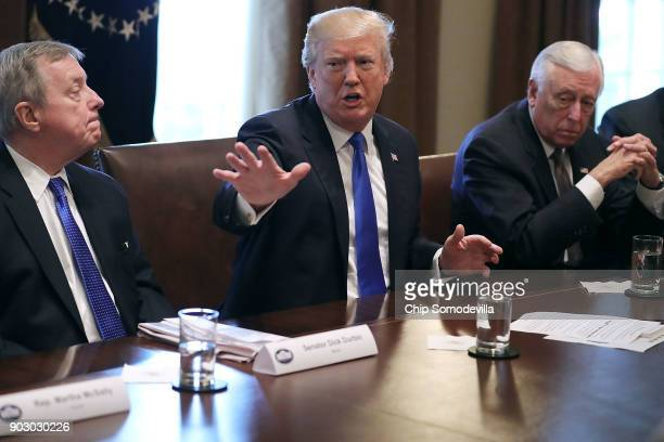 S President Donald Trump presides over a meeting about immigration with Republican and Democrat members of Congress including Senate Minority Whip...