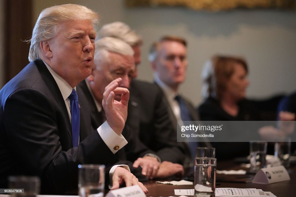President Trump Meets With Bipartisan Group Of Senators On Immigration : News Photo