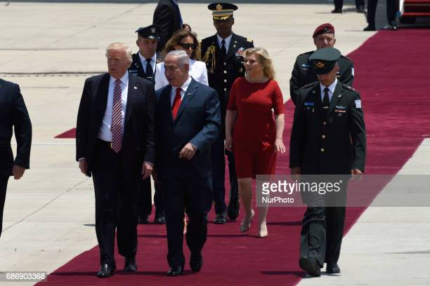 US President Donald Trump Prime Minister Benjamin Netanyahu during an official welcoming ceremony on his arrival at Ben Gurion International Airport...
