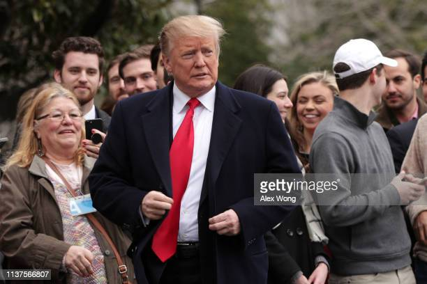 S President Donald Trump prior to his departure from the White House March 22 2019 in Washington DC President Trump is traveling to his MaraLago...
