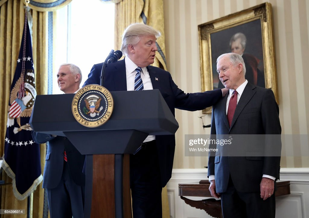 Sen. Jeff Sessions Sworn In As Attorney General At The White House