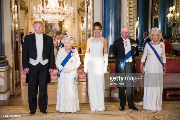 President Donald Trump, Queen Elizabeth II, First Lady Melania Trump, Prince Charles Prince of Wales and Camilla Duchess of Cornwall attend a State...
