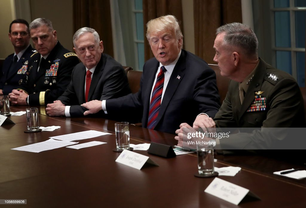 President Trump Receives A Briefing From Senior Military Leaders At White House : News Photo