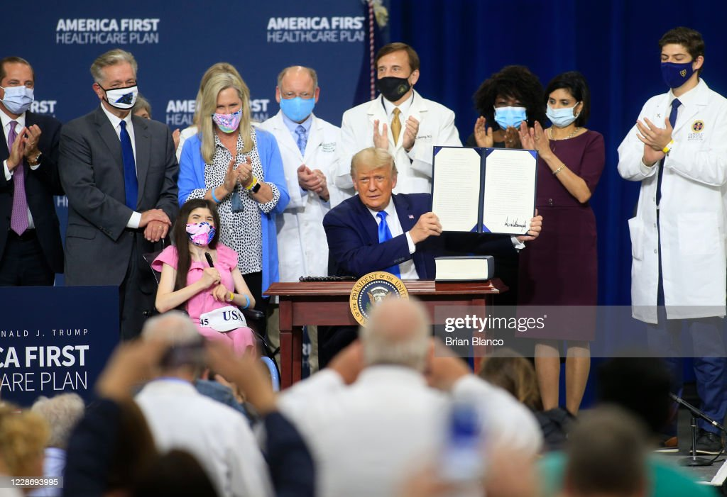 President Trump Delivers Remarks On His Healthcare Policies In North Carolina : News Photo