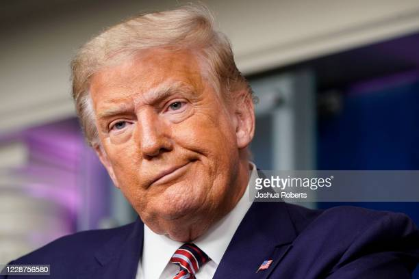 S President Donald Trump reacts to a question during a news conference in the Briefing Room of the White House on September 27 2020 in Washington DC...